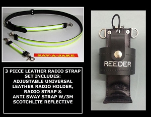 Firefighter Leather 1.5 inch wide Radio Strap & Holder Set 3M Triple Yellow Reflective