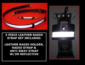 Firefighter 3 Piece Leather Motorola APX 7000 Radio Strap Set 3M Silver Scotchlite