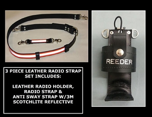 Leather Fireman's 1.5 inch wide Radio Strap & Holder Set 3M Triple Orange Reflective