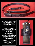 Firefighter Leather 1.5 inch wide Radio Strap & Holder Set Basketweave Embossed