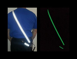 Glow in the dark AND reflective are sewn on the entire strap!